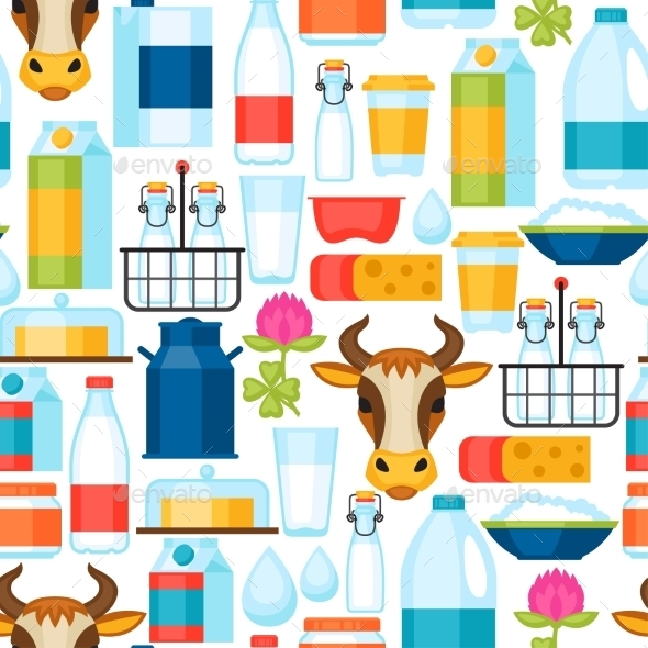 Milk Seamless Pattern With Dairy Products