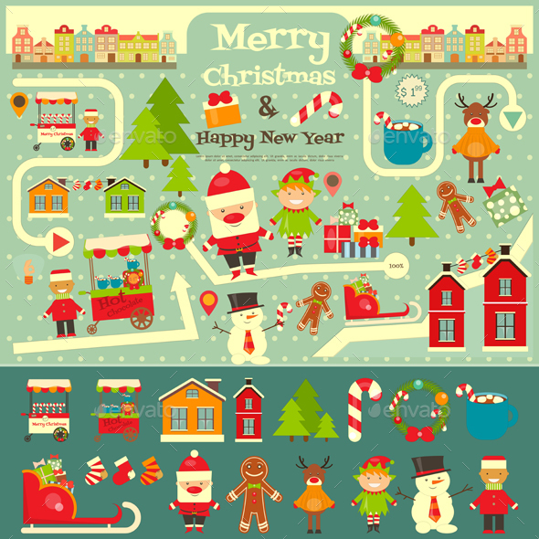 Set of Cute Christmas Character - Christmas Seasons/Holidays