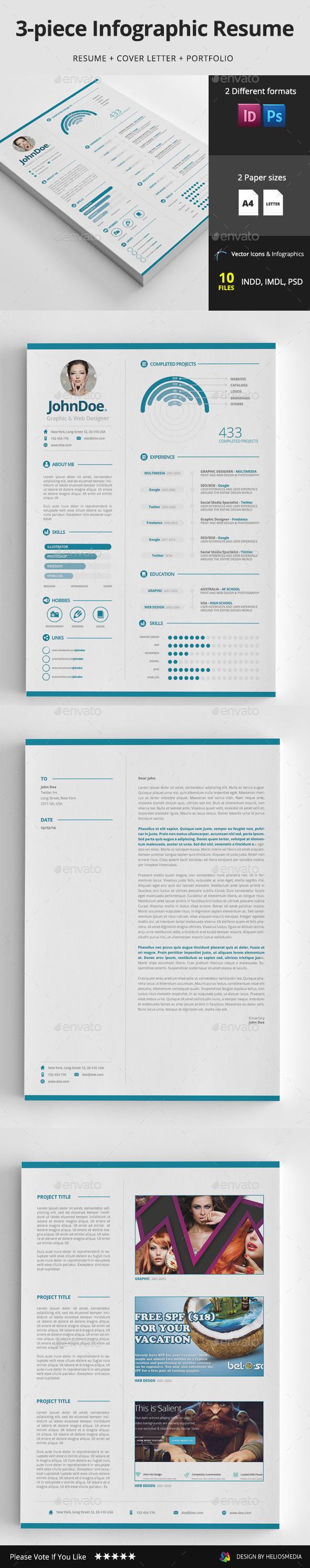 3-piece Infographic Resume / CV - Resumes Stationery