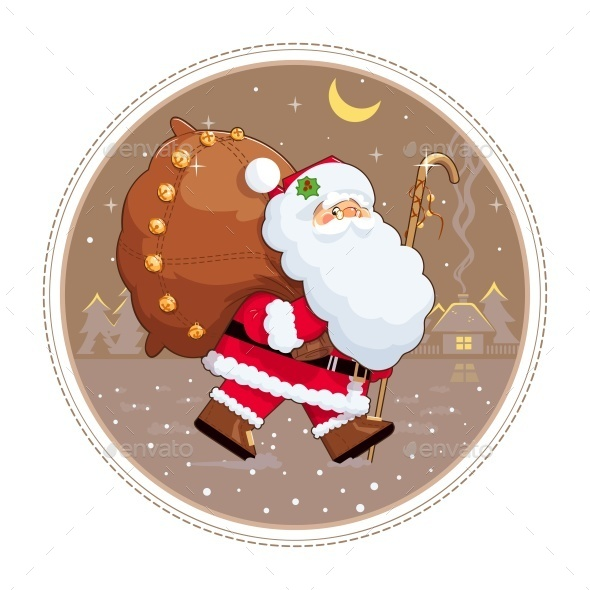 Santa Claus with Gift Sack  - Christmas Seasons/Holidays