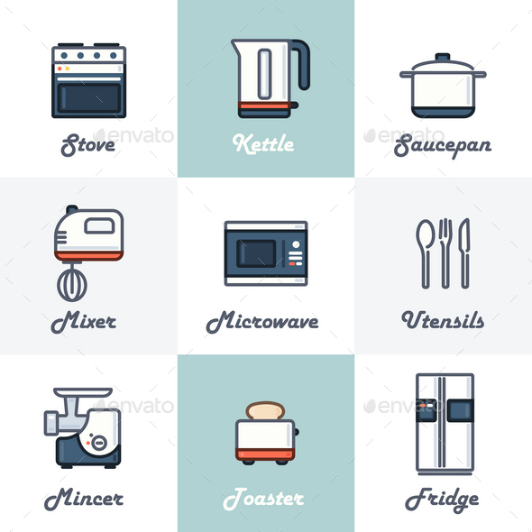 9 Kitchen Icons - Man-made Objects Objects