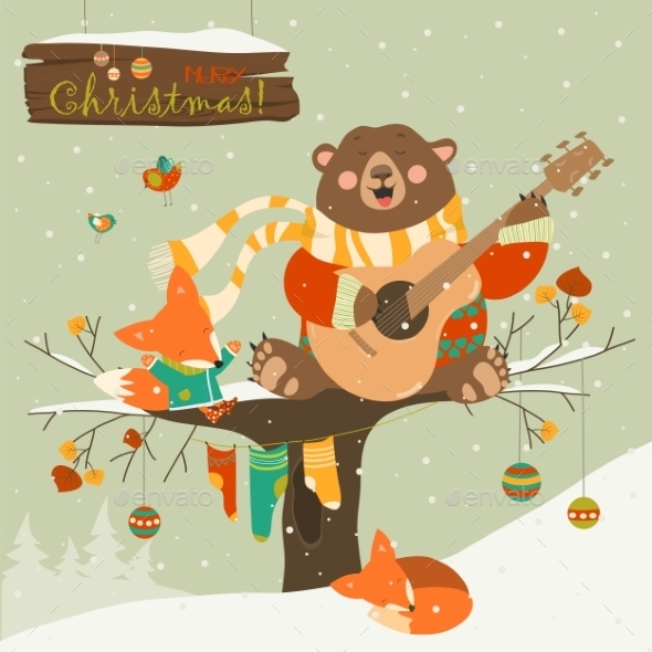 Cute Bear And Little Fox Celebrating Christmas - Christmas Seasons/Holidays