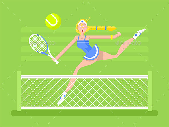 Cartoon Character Woman Tennis Player - Sports/Activity Conceptual