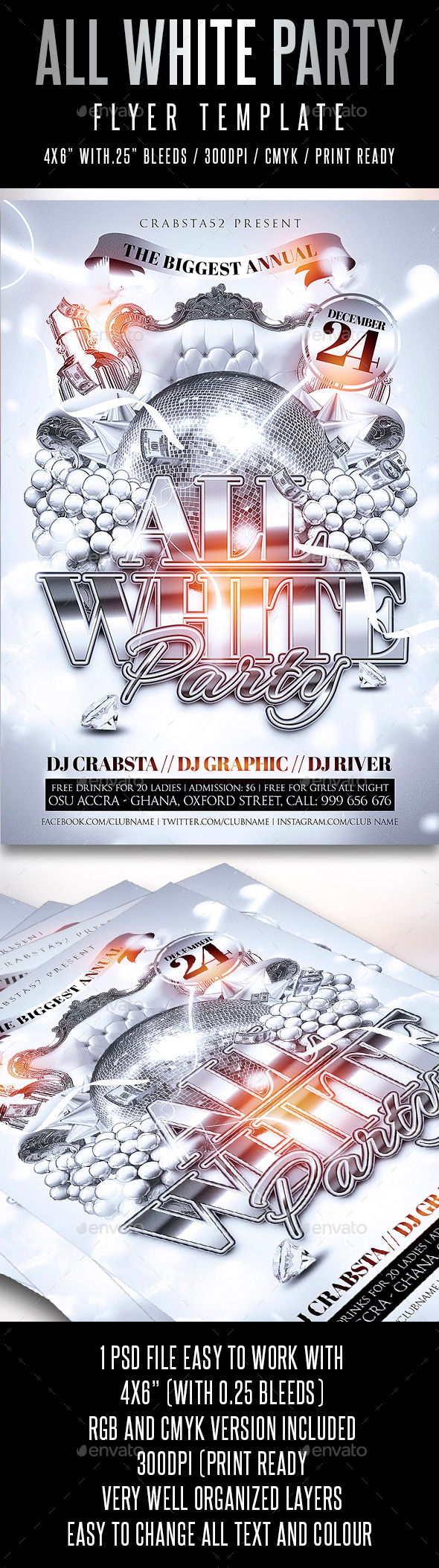 All White Party Flyer Template - Flyers Print Templates