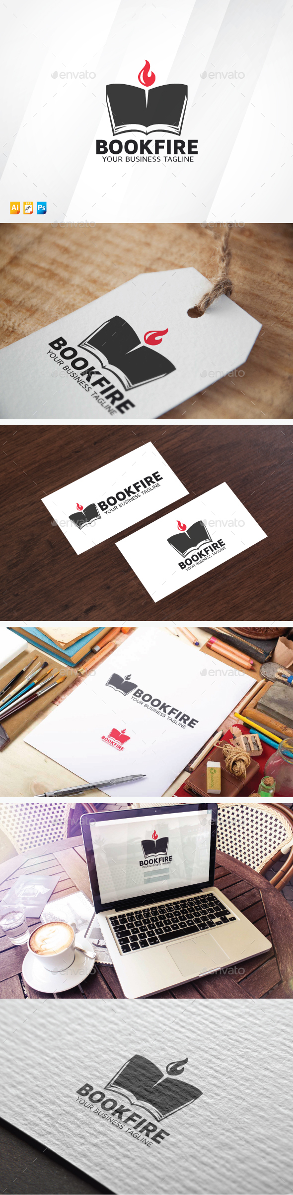 Book Fire - Symbols Logo Templates