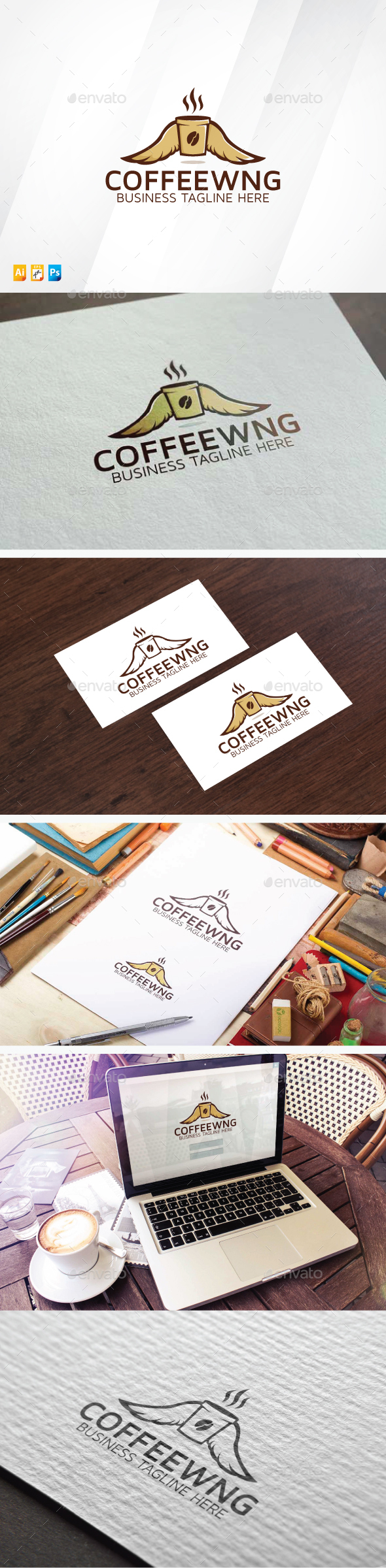Coffee Wings Logo - Food Logo Templates