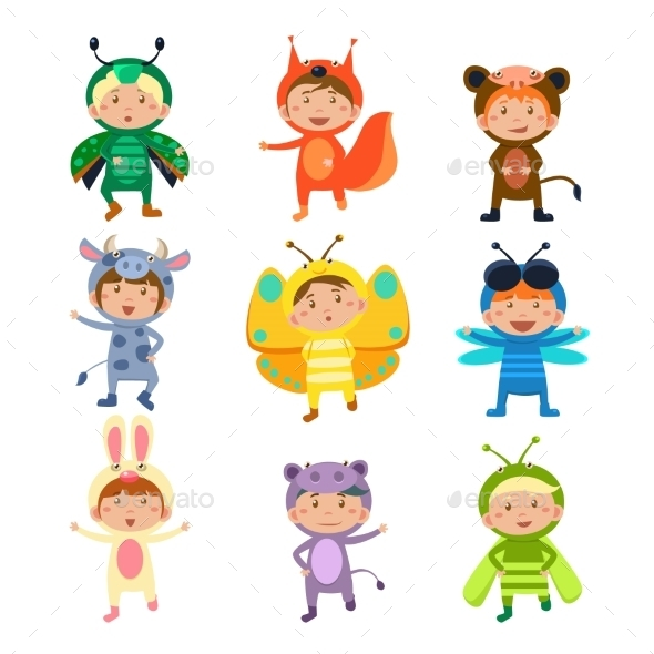 Kids Wearing Insect and Animal Costumes - Animals Characters