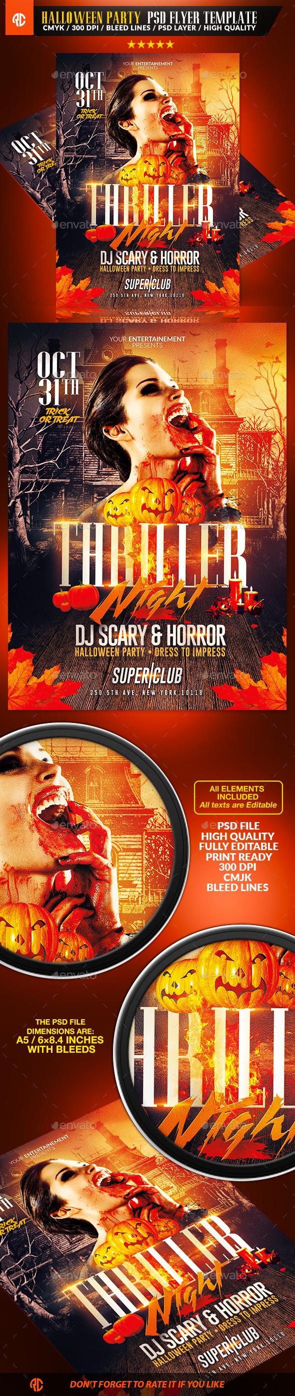 Thriller Night Halloween | Flyer Template - Events Flyers