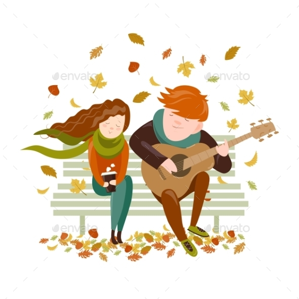 Boy Plays Guitar for a Girl in the Autumn Park - People Characters