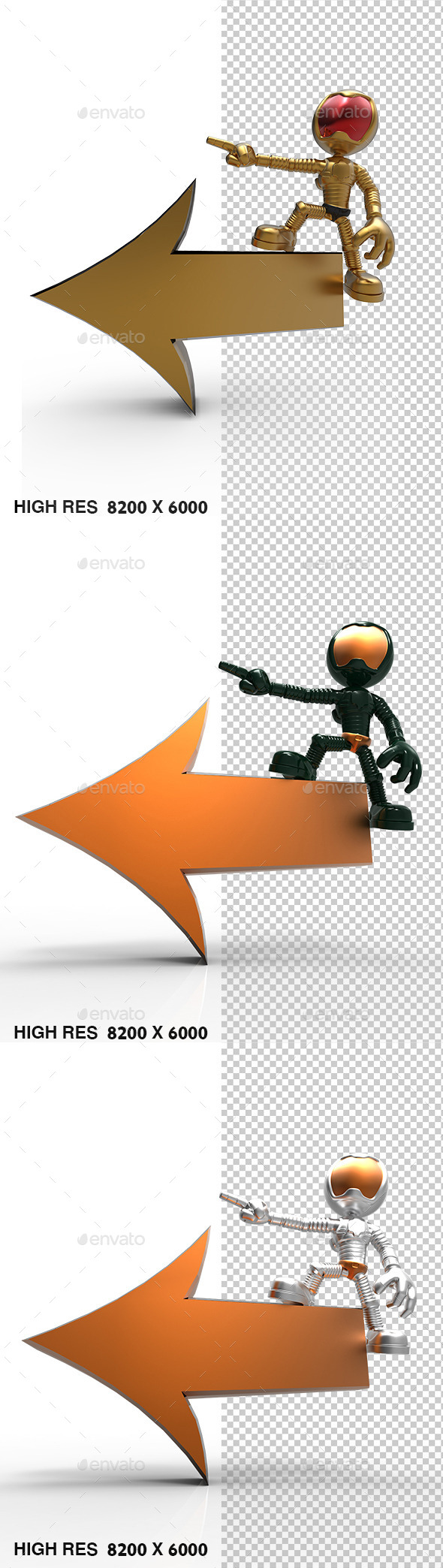 3D Gold Astronaut Tell Left Direction - Characters 3D Renders