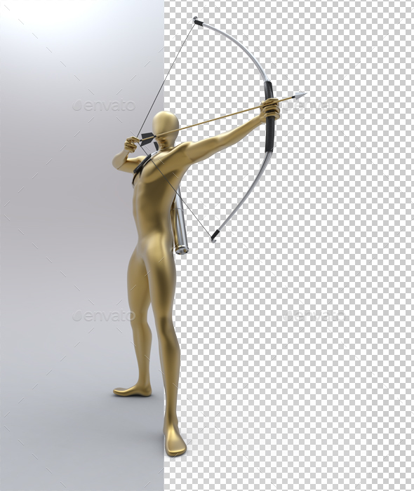 Sniper Arch Muscles Golden Man - Characters 3D Renders