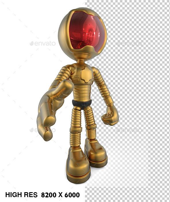 3D Golden Astronaut Help - Characters 3D Renders