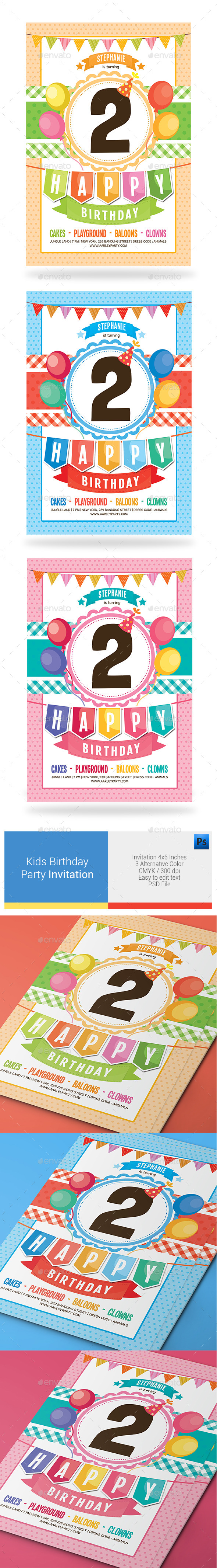 Kids Birthday Party Invitation - Birthday Greeting Cards