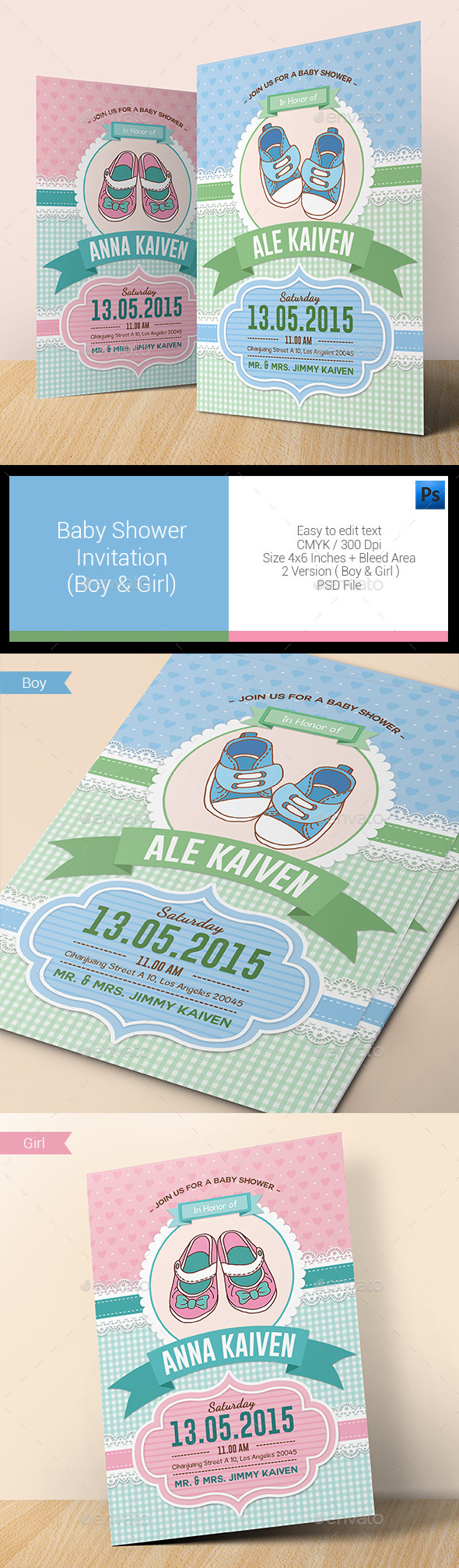 Baby Shower Invitation (Boy & Girl) - Invitations Cards & Invites