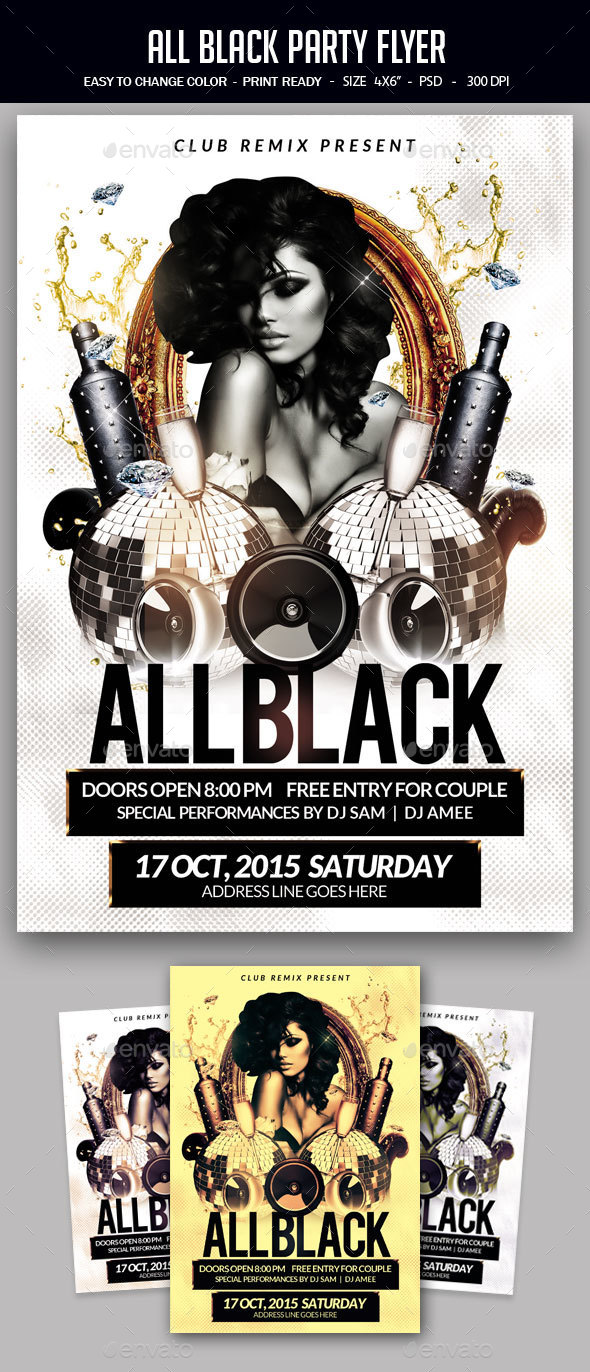 All Black Party Flyer - Clubs & Parties Events