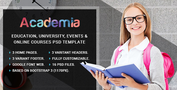Academia – Education, Course & Event PSD Template