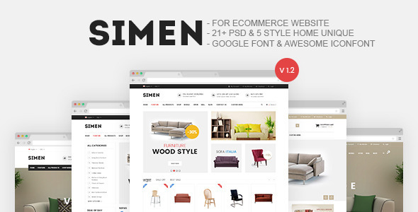 Simen - Furniture Store E-Commerce PSD - Retail PSD Templates