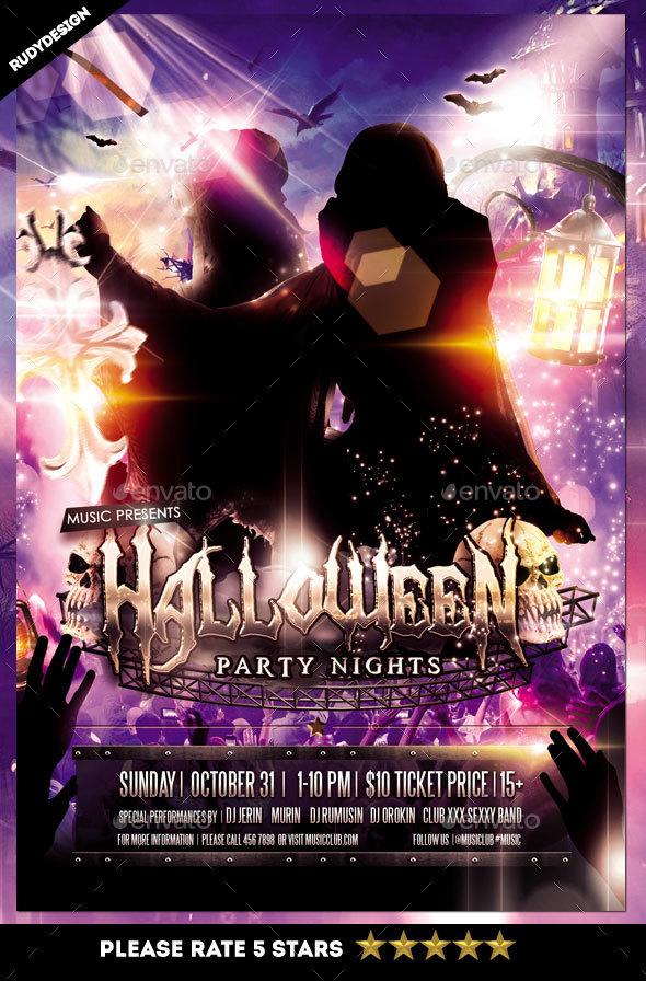 Halloween Costume Party Night Flyer - Clubs & Parties Events