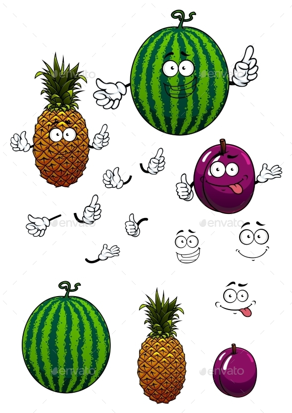 Cartoon Watermelon, Pineapple And Plum Fruits  - Food Objects