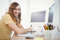 Portrait of happy hipster working at desk in office - PhotoDune Item for Sale