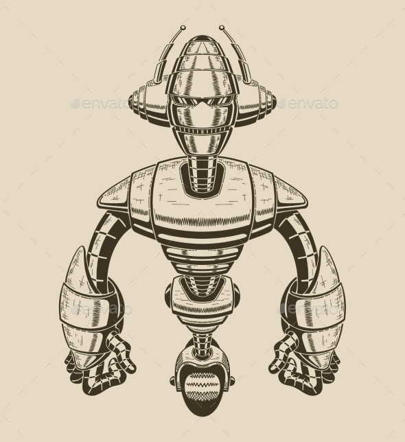 Image Of a Cartoon Metal Robot With Antennas