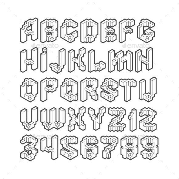 Isometric Alphabet - Decorative Symbols Decorative