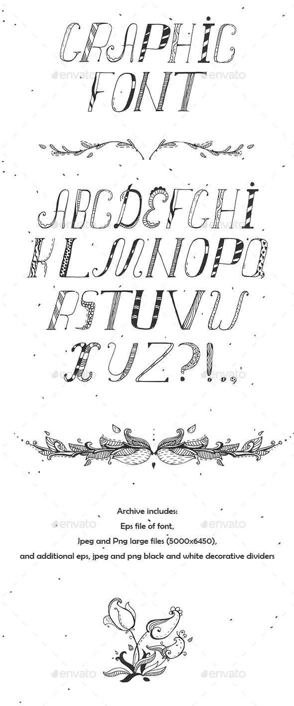 Hand Drawn Black Font - Miscellaneous Vectors