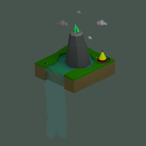 Low Poly Waterfall Landscape - 3DOcean Item for Sale