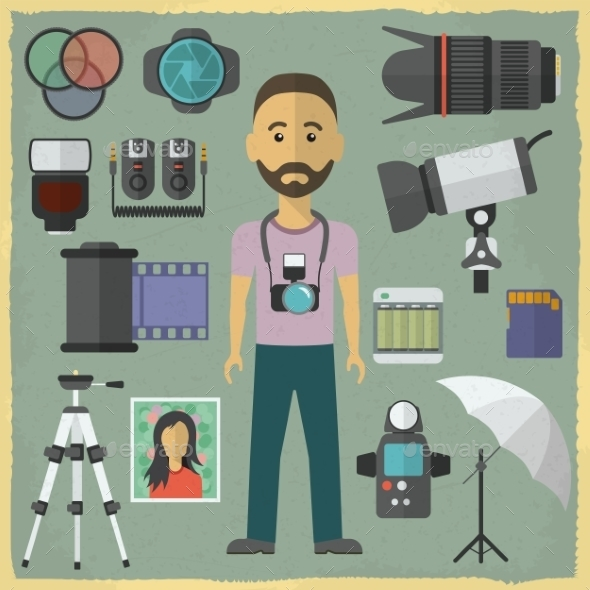 Photography Character Flat Design.  - Media Technology