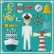 Captain Captain And Nautical Flat Icons. - GraphicRiver Item for Sale