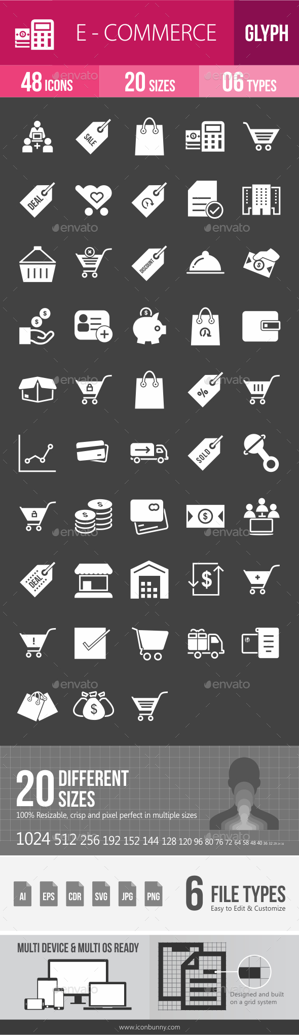 Ecommerce Glyph Inverted Icons - Icons