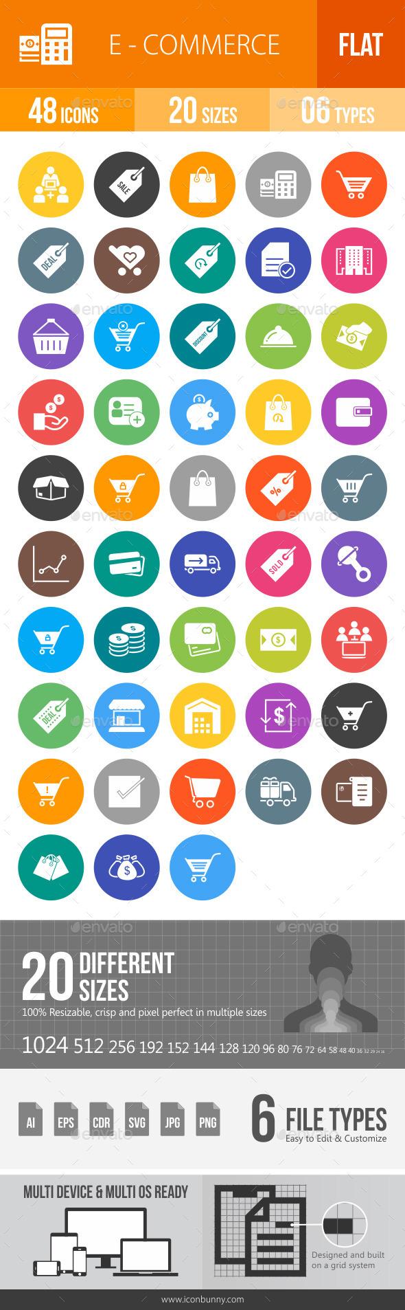 Ecommerce Flat Round Icons - Icons