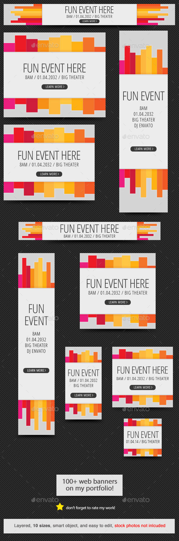 Colorful Event Web Banner - Banners & Ads Web Elements