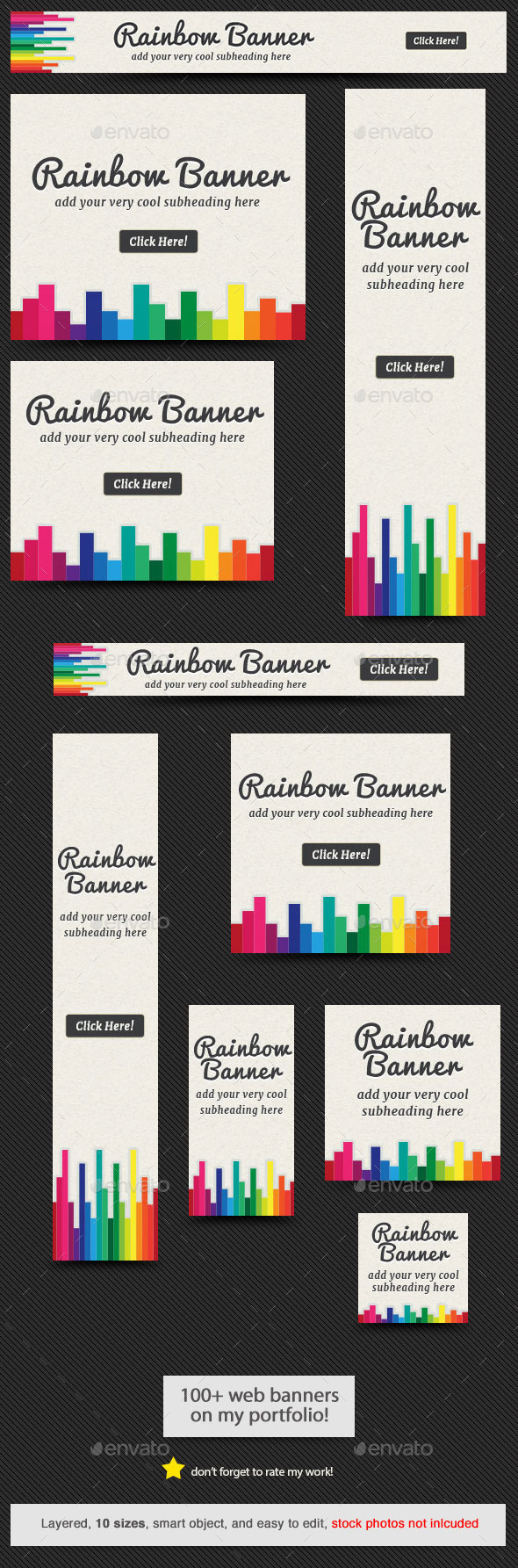 Rainbow Web Banner - Banners & Ads Web Elements
