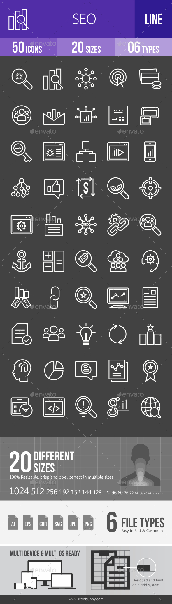 SEO Line Inverted Icons - Icons