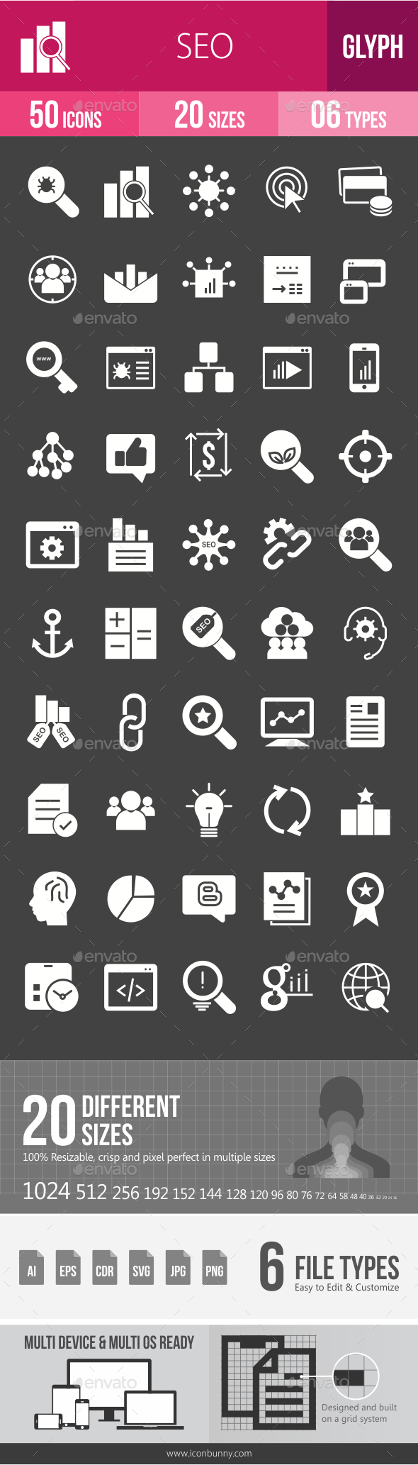 SEO Glyph Inverted Icons - Icons