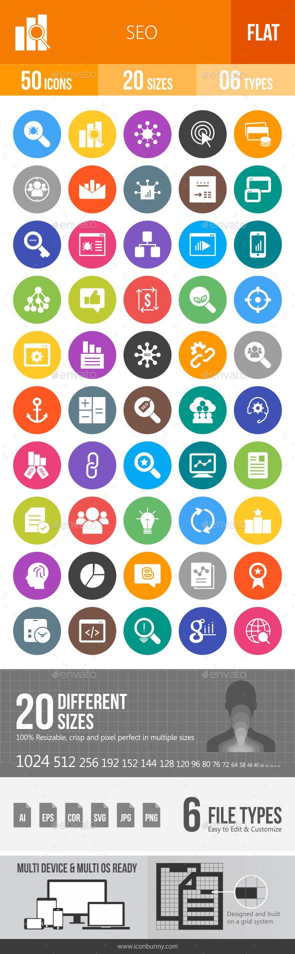 SEO Flat Round Icons - Icons