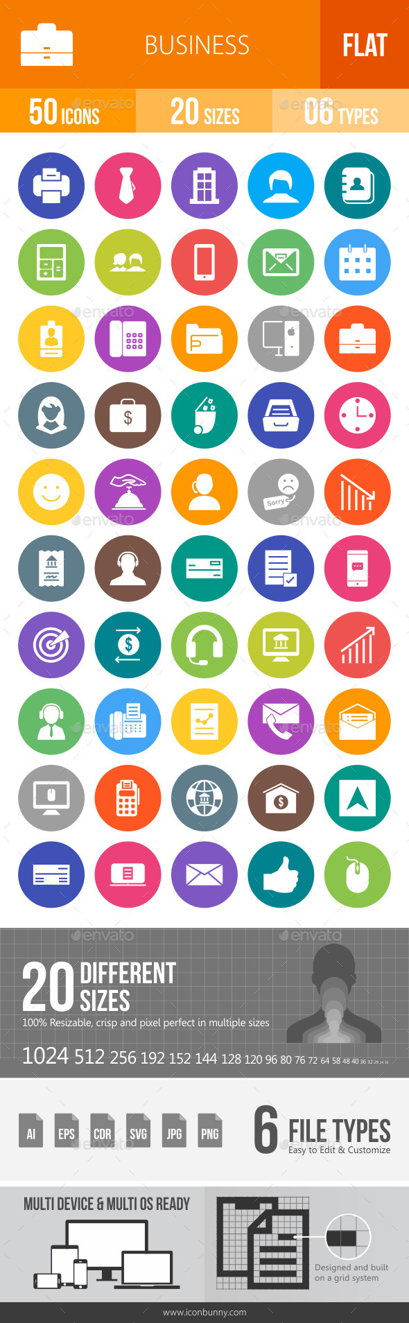 Business Flat Round Icons - Icons