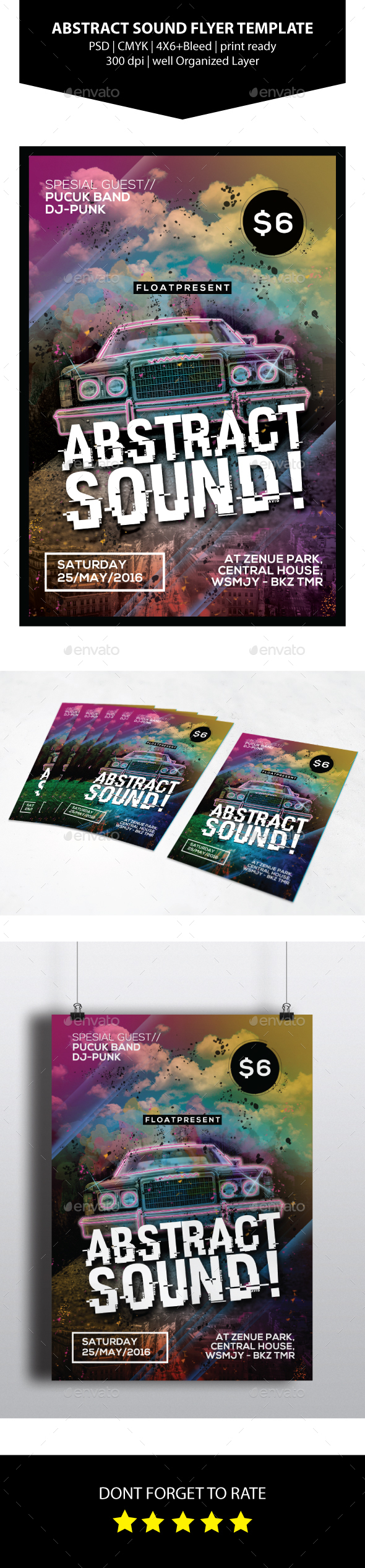 Abstract Sound Flyer Template