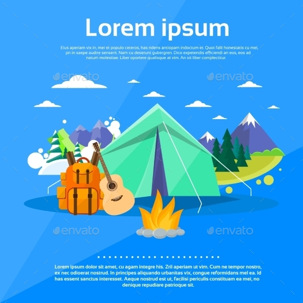Tent Camping Tourist Forest Mountain Expedition - Travel Conceptual