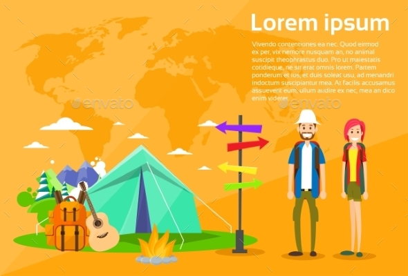 Tourist Backpacker Couple Tent Camping Forest - Travel Conceptual