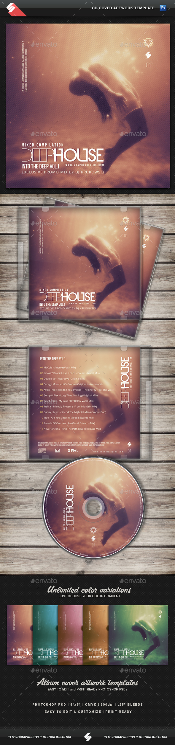 Deep House Mix CD Cover Artwork Template