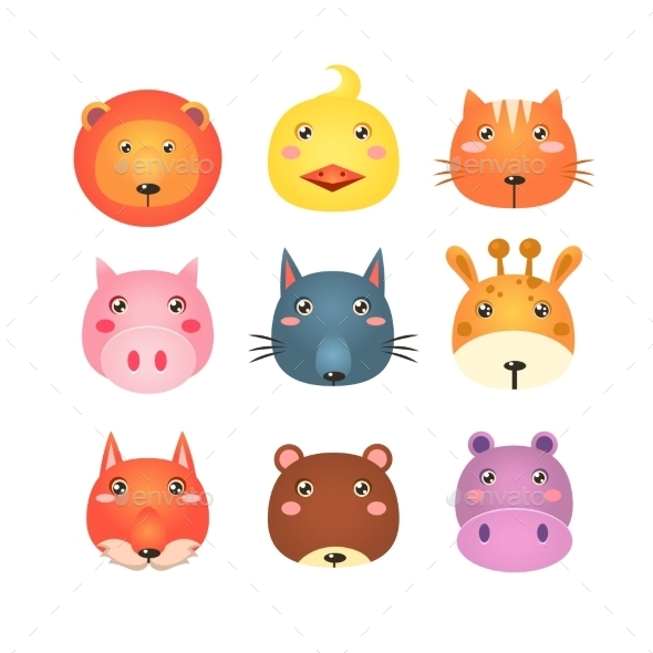 Cute Set Of Cartoon Animal Heads Vector