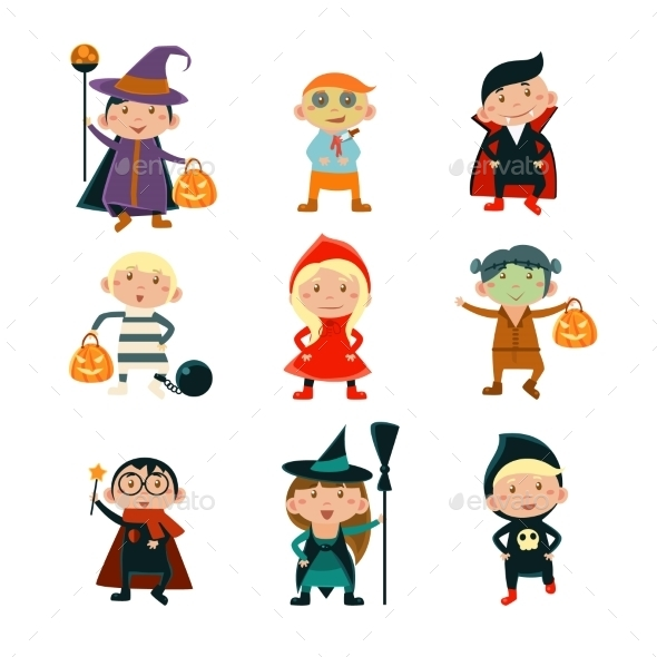 Kids In Halloween Costumes Vector Illustration