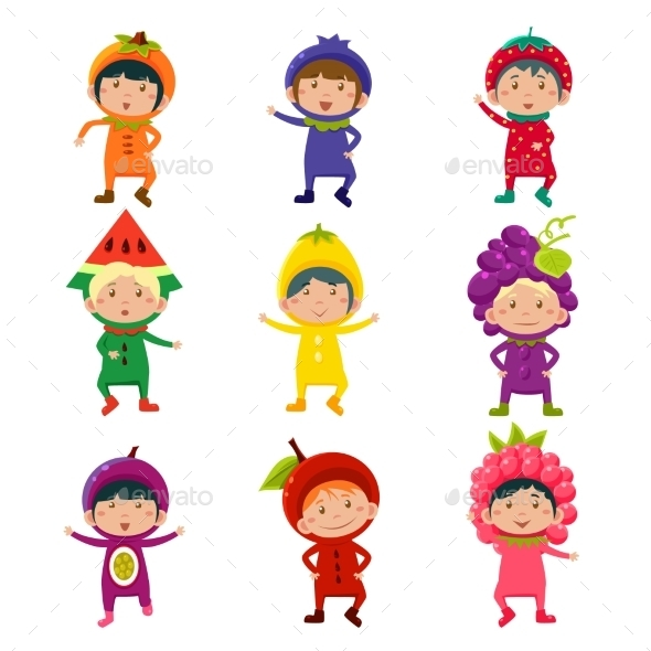 Cute Kids In Fruit And Berry Costumes Vector - Monsters Characters