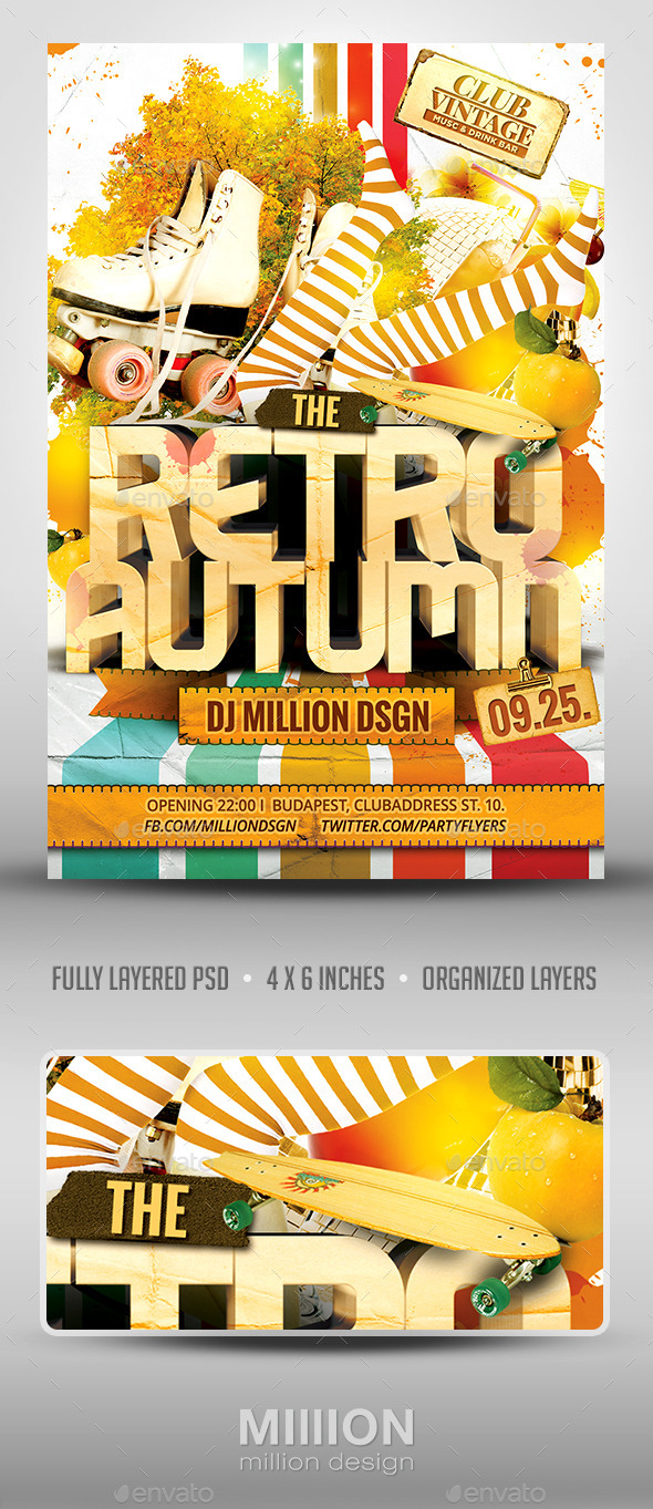 Retro Autumn Flyer - Clubs & Parties Events