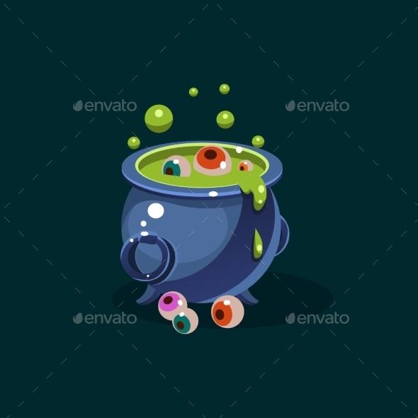 Pot Of Green Potion And Eyes Vector Illustration - Halloween Seasons/Holidays