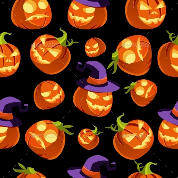 Pattern Of Halloween Pumpkins In Witches Hat