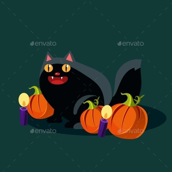 Halloween Black Cat And Pumpkins Vector