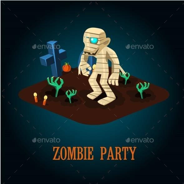 Cartoon Mummy On Night Halloween Cemetery Vector